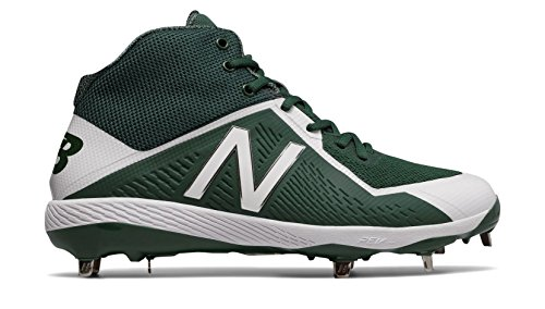 New Balance Men's M4040v4 Metal Baseball Shoe, Green/White, 10.5 D US (Baseball Cleats Dark Green)