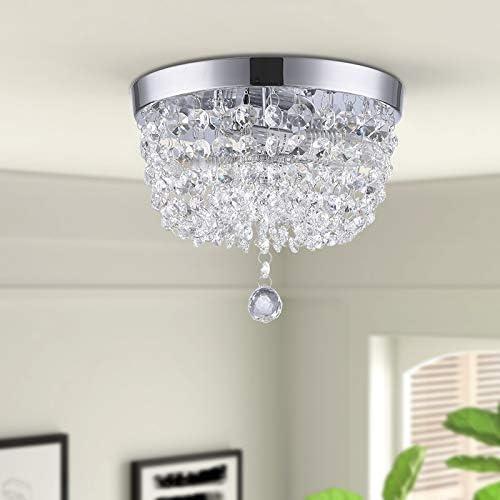 GLANZHAUS Fashion Designed Mini Style 9.84″ Chrome Finish Crystal Ceiling light