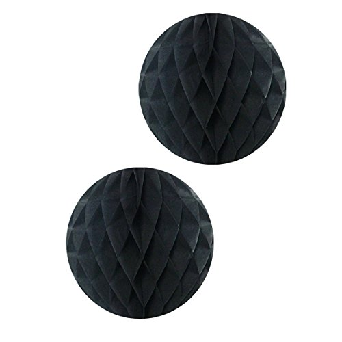 Wrapables Tissue Honeycomb Ball Party Decorations for Weddings, Birthday Parties, Baby Showers and Nursery Decor (Set of 2), 16, Black