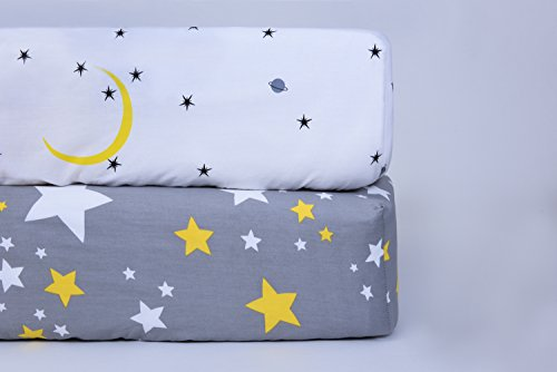 Organic Cotton Crib Mattress Sheet Set (2 Pack) | 100% Cotton Ultra Soft | Fits Standard Crib Mattress for Babies & Toddler Mattress (28x52x9 inch) by Oxxysaon