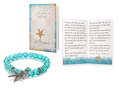 (Smiling Wisdom - Stretch Starfish Bracelet Blue Aqua Gift Set - You Make a Profound Difference - Appreciation Thanks - Encourage a Friend, Teacher, Volunteer, Caregiver, Coach, Mentor, Teenage Girl)