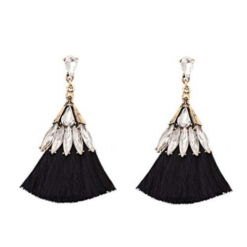 Clearance Deals, Tassel Earrings, Womens Bohemian Fringe Drop Earrings Spherical Style Rhinestones Tassel Dangle Stud Earrings (Black, Alloy) -