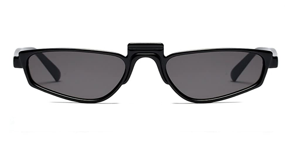 2f7259cf81 Amazon.com  Super Skinny Narrow Geometric Small Sunglasses for Women Men  Plastic Slim Frame (Black