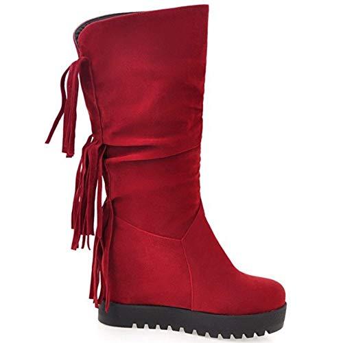 Vulusvalas Femme confortables rouges Bottes compensées frisées rrqUzA