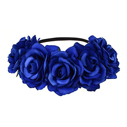 - Dreamlily Women's Hawaiian Stretch Flower Headband for Garland Party BC12 (Blue)