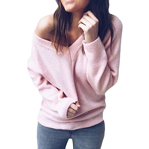 BEAUTYVAN Fashion Women's Sexy V Neck Sweater Long Sleeve Shirts Loose Pullover Blouse Tops -