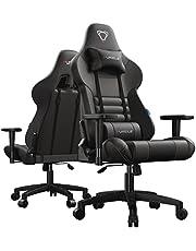 Furgle Gaming-stoel, bureaustoel, draaistoel, ergonomisch, intrekbare voetensteun, PU-gaming, met voetensteun