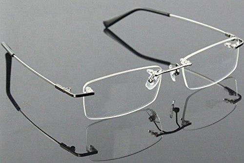 Agstum Titanium Alloy Flexible Rimless Frame Prescription Eyeglasses (Gunmetal)
