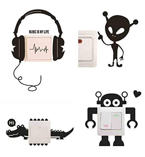 Removable Switch Sticker, 4 Pcs Cute Alien, Robot, Headphone, Crocodile Cartoon Wall Sticker, Light Switch Decor Decals, Family DIY Decor Art Stickers for Kids Living Room Office Home Decoration ()