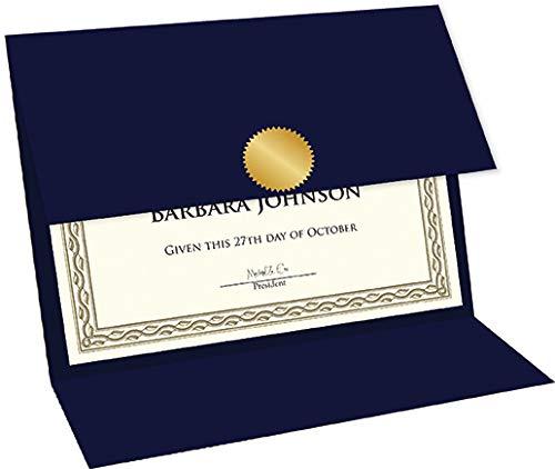 Geographics Tri Fold Navy Certificate Holder, Linen Texture, 9.25