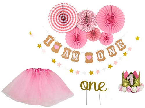 First Birthday Decorations Set For Girl, 1st Birthday Girl Decorations, I Am One Birthday Banner, Baby Birthday Crown, Circle Fan, Garland Cake Topper