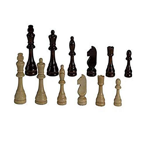 CHH 2102 9 Inch Standard Wooden Chessmen in Box, Dark Brown and Light Beige
