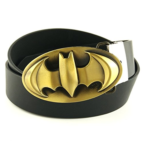 Fashion Casual Man Black Belt Faux Leather Belts with Superhero Belt Buckle Metal
