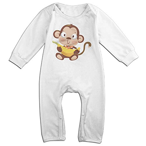 (CAPA Newborn Cute Monkey Long Sleeve Bodysuit Winter Jumpsuit White 6 M)