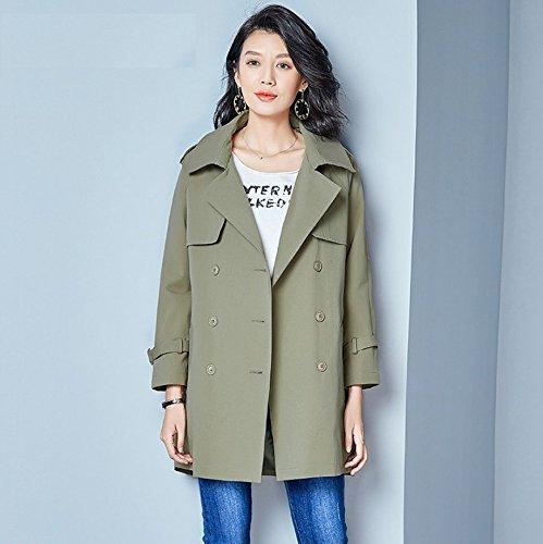 suelto abrigo largo algodón un M Mayihang de M en hembra verde la capa 4xgAYz