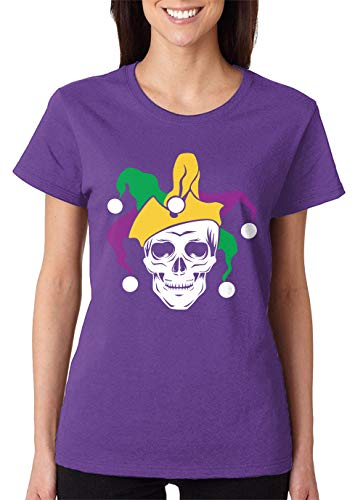 SpiritForged Apparel Mardi Gras Skull Jester Women's T-Shirt, Purple Medium]()