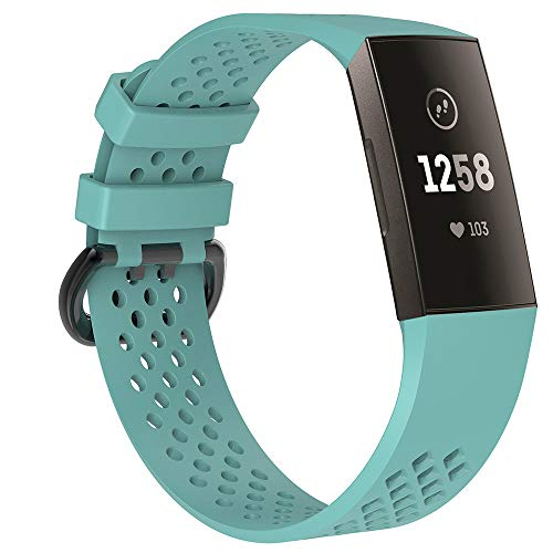certainPL Sports Breathable Silicone Bracelet Strap Band for Fitbit Charge 3 (Mint Green, ()