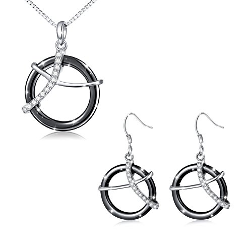 Black Ceramic S925 Sterling Silver Jewelry Set for Women Necklace - Set Earrings Ceramic