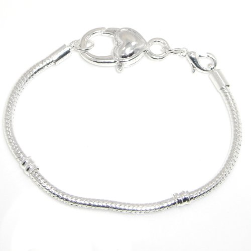 """Jewelry Monster Silver Plated Snake Chain Charm Bracelet w/ Heart Shaped Lobster Clasp Size 8.7""""/22cm"""