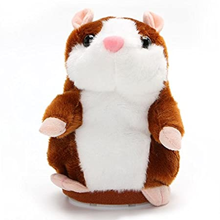 Dovewill Adorable Plush Interactive Toy Talking Hamster Repeats What You Say for Children Kids Boy and Girl Gift, 3 Colors - Dark Brown