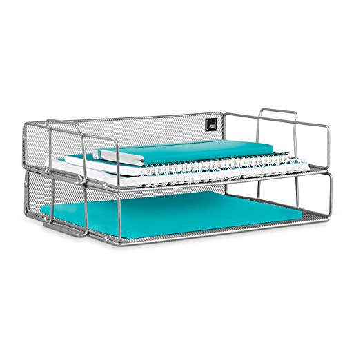 (Mindspace 2 Tier Stackable Letter Tray| Paper Tray Desk Organizer | The Mesh Collection, Silver)