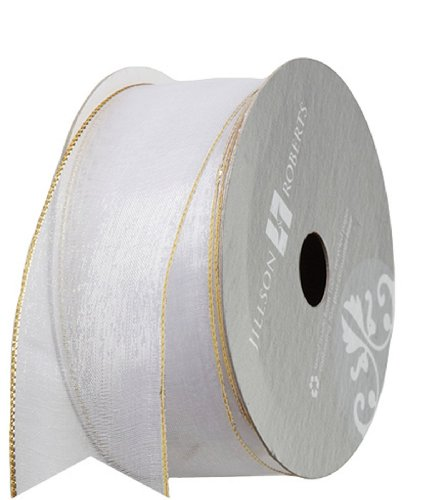 10' Metallic Bow (Jillson Roberts 1-3/8 Inch Wired Metallic Edge Sheer Ribbon Available in 5 Colors, White/Gold, 6-Count (FR3924))