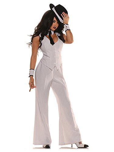 Boss Costumes Women (Women's Mob Boss Costume, White/Black, Small)
