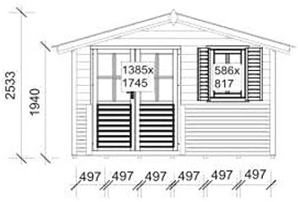 Caseta de jardín G110 con terraza, incluye suelo – 28 mm, listones ...