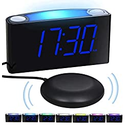Loud Alarm Clock Bed Shaker for Heavy Sleepers Deaf Elderly Kids, Bedrooms Home Kitchen Shelf- Digital Clock, Large Display & Dimmer, 7-Color Night Light, USB Ports, Easy Set, 12/24 H, Battery Backup