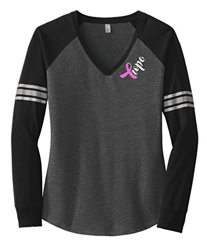 Breast Cancer Hope Long Sleeve T-shirt (XX-Large, Heathered Charcoal/ Black/ Silver) (Cancer Womens T-shirt)