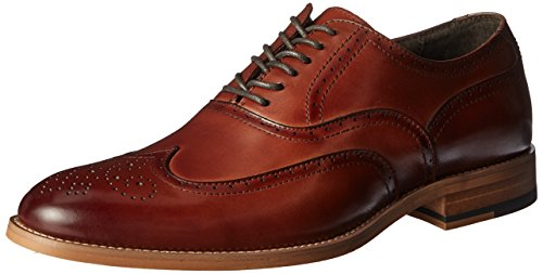 STACY ADAMS Men's Dunbar-Wingtip Oxford, Cognac, 7 M US - Fully Padded Insole