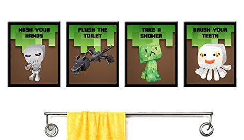 Silly Goose Gifts Even Pixel Miners Brush Their Teeth Take A Shower Wash Hands Bathroom Wall Art Decor (Set of Four)