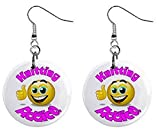 Knitting Addict Novelty Dangle Button Earrings Jewelry 1 inch Round 14006615