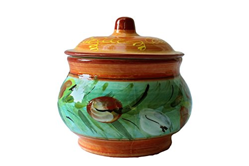 Storage Jar - 1 Quart - Hand Painted in Spain - Tulip Design by Cactus Canyon Ceramics