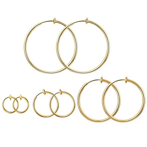 Adramata Stainless Steel 4 Pairs Clip On Hoop Earrings for Women Men Non Pierced Earrings,Gold