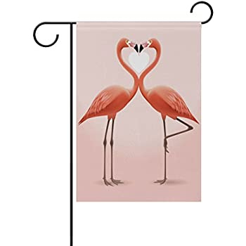 "12/"" x 18/"" JUST MARRIED Love Birds Burlap Garden Flag"