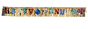 Alef Judaica D844 Gold Foil Happy Hanukah Hanging Curtain Banner - Dozen
