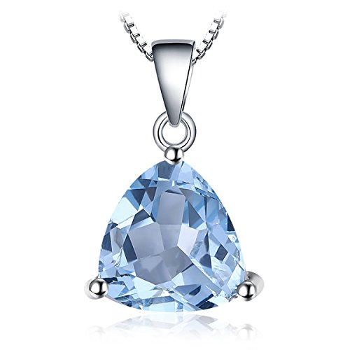 (JewelryPalace Gemstones Birthstone Necklace For Women 925 Sterling Silver Solitaire Pendant Necklace For Girls 2.4ct Natural Blue Topaz Necklace Chain Box 18 Inches Triangle Cut)