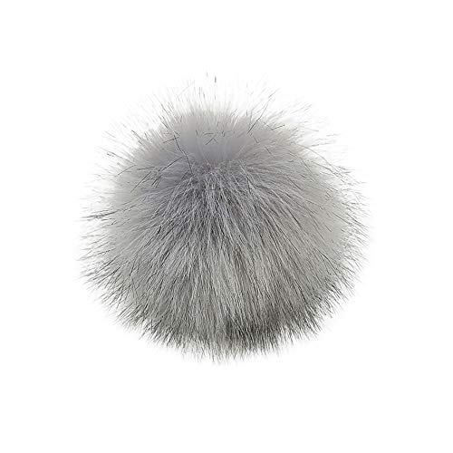MILIMIEYIK Raccoon Fox Fur Pompom with Button Big