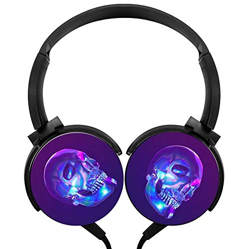 Blue Light Skull Headphones 3D Printed Over-Ear Lightweight Headphone for Kids Men Woman