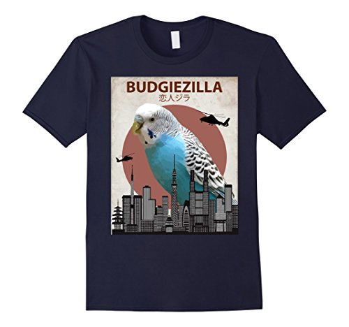 Mens Budgiezilla | Budgie T-Shirt for Budgerigar Parakeet Lovers Small Navy