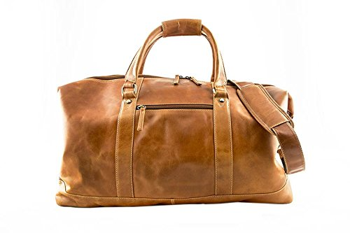 ALPENLEDER Leather Weekend Bag ALABAMA - Design Award Winning Travel Duffel Bags - Weekender Bag for Men - Brown/Cognac by ALPENLEDER