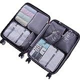 xrime 8 Set Packing Cubes - Waterproof Mesh Compression Travel Luggage Packing Organizer