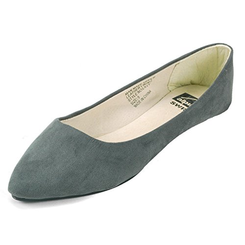 Pointed Ballet Toe Micro Womens Swiss Suede Gray Lilly Alpine Flats U740n