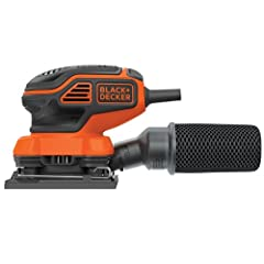 Black & Decker BDEQS300 1/4 Sheet Orbital Sander features Paddle Switch activation for easy on/off during application . This sander runs at 1,600 orbits/minute, at 2.0 amps of power for efficient material removal, but with a compact size ...