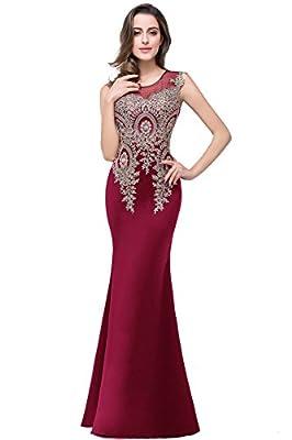 Misshow Women's Rhinestone Lace Mermaid Prom Dress Long Evening Gowns