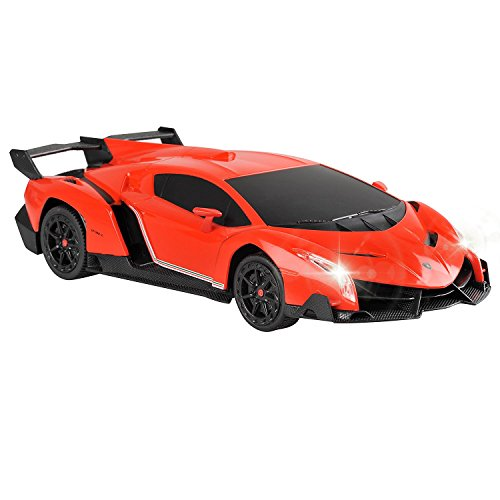 QUN FENG Electric RC Car-Lamborghini Veneno Radio Remote Control Vehicle Sport Racing Hobby Grade Licensed Model Car 1:24 Scale for Kids Adults (Orange) (Hyper Rc Car Speed)