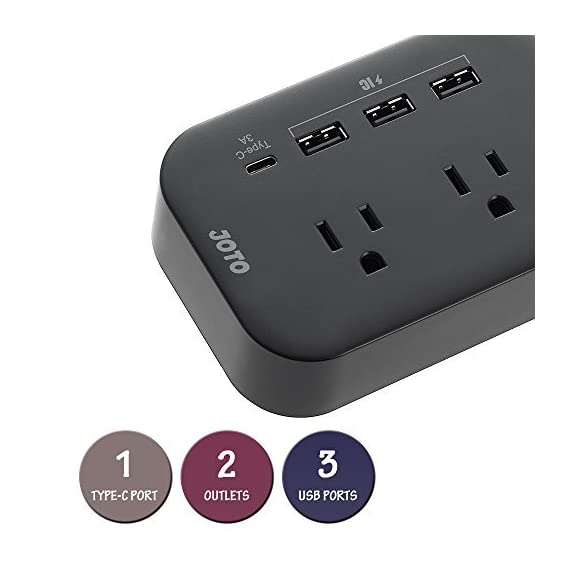JOTO 2 Outlet Surge Protector Power Strip with USB Smart Charger (4 Port,5V 7.4A),with Type C Charging Port,6.6ft Cord, Home Office Travel Charger Station for iPhone iPad Samsung Tablets Laptop 3 All in One Design: 2 outlets Surge Protector + 4 USB Charging ports (1x Type C, 3x USB-A), convenient one-stop charging experience for you. You can charge your cellphones, tablets, laptops, digital cameras and other USB / Type C devices at the same time Portable Size: This mini power strip charger can fit right into your palm; it is perfect for home/office use, and convenient to carry around and take away for travel Smart IC Technology: Chip inside intelligently detects the input current of the connected devices to maximize both compatibility and charging speed ( Each USB ports: 5V 2.4A Max, Type C port: 5V 3A Max)