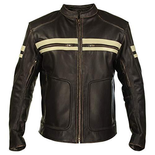 - Xelement BXU165250 Men's Brown Leather Cruiser Jacket - Large