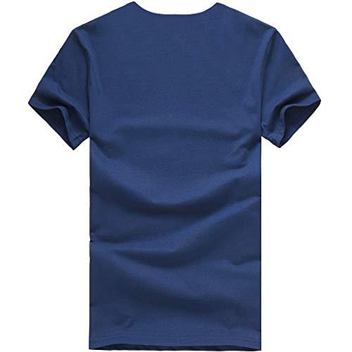 Chemise Sexy shirt Elegant Imprime Bleu Ménage Cher Marine Lâche Top Shirt Blouse Chic Tops Courtes Col Simple Manches Tunique Femme Round Ete Pas Jaysis Mode Vêtement Motif Tee Ample T G Casual Fq0wd60
